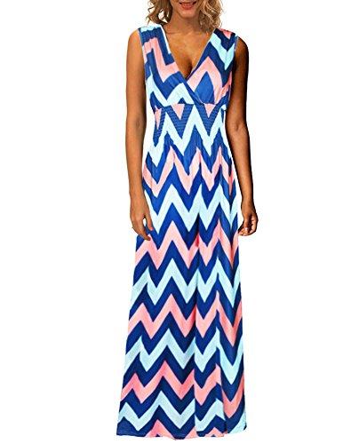Kranda Women's V Neck Sleeveless Elastic Waist Striped Maxi Dress (Small, Orange Printed)