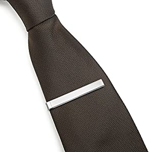Tie Bar Set 3-Pc Tie Clips for Skinny Ties, 1.5 Inch w/ Gift Box Puentes Denver (Brushed Silver)