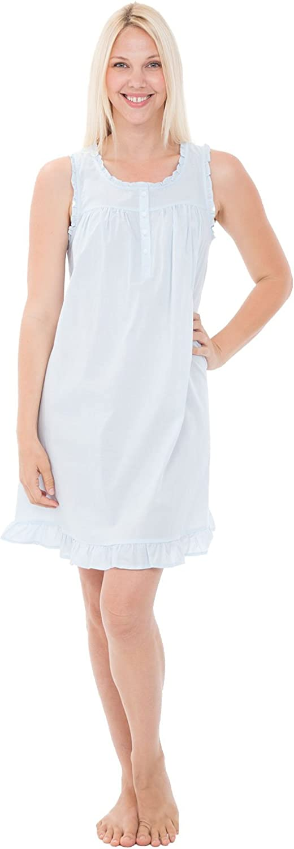 Vintage Inspired Slips Alexander Del Rossa Womens 100% Cotton Lawn Nightgown Sleeveless Chemise $34.99 AT vintagedancer.com
