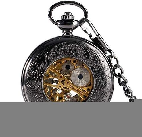 YXZQ懐中時計、ファッション夜光ダイヤル黒スチームパンク漫画マウス手巻き機械式スケルトンペンダントチェーンメンズギフト付き