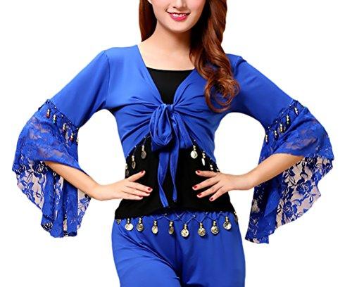Con Stlie Maniche Navy Ballo Costumi Costume Tromba Top Moda Bolero Grazioso Pancia Blue Del Monete Pizzo Latino Donna Cucitura Stola Ventre Danza wRx0qHOA