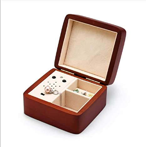 Custom Music Box Upload Your Own Songs With Usb 15 Songs Space Up To 95mb Exterior Matte Wood Tone Finish Musical Box With Small Compartment Square Music Box Home