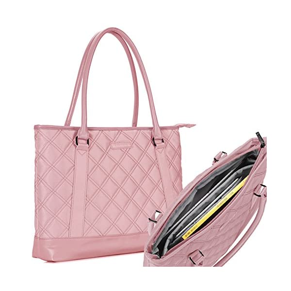 Laptop Tote Bag, DTBG 15.6 Inch Nylon Classic Diamond Pattern Travel Business Computer Shoulder Bag Carrying Briefcase Handbag For 15 - 15.6 Inch Laptop / Notebook/ MacBook/Ultrabook/Tablet,Rose Gold - other