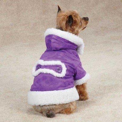 Hooded Sherpa Dog Jacket Color: Ultra Violet, Size: X-Large (24'' H x 18'' W x 0.25'' D)