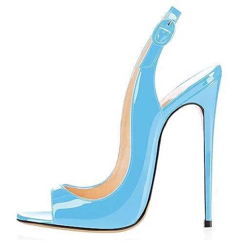elashe Sandali con Tacco Alto - Sandali Sexy - Sandali della Cintura della  Caviglia Cielo Blu