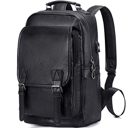 DiDe Laptop Backpacks with USB Charging Port Casual Daypacks for Men (Black)