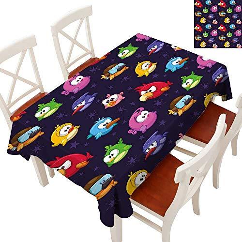 Funny Decorative Textured Fabric Tablecloth Angry Flying Birds Figure with Various Expressions Game Toy Kids Babyish Artsy Image Runners, Gatsby Wedding, Glam Wedding Decor, Vintage WeddingsMulticolo -