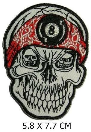 8 Ball Skull Punk Biker apliques sombrero gorra Polo mochila ropa ...