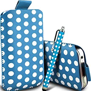 ONX3 Alcatel One Touch Pop S3 Leather Slip cable protector Polka PU Pull In Pouch Case Quick Release y Mini capacitivo Stylus Pen (Baby Blue & White)