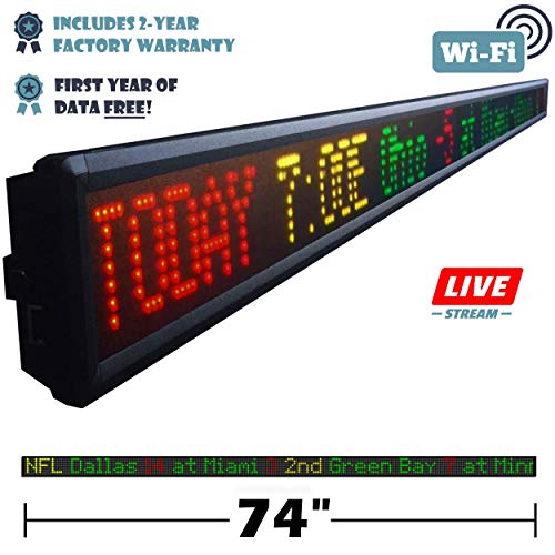 Fantasy Sportsticker 74-Inch LED Sign with Live Content, Displays Stats, Scores, Odds, Breaking News and Major Sports Coverage (Best Fantasy Football League Websites)