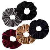 Jaciya 5 Pack Large Velvet Scrunchies 6.3 Inches Hair Elastics Scrunchy Bobbles Soft Elegant Elastic Hair Bands Hair Ties, 5 Colors (Color 1)