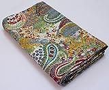 king handmade quilts - Sophia Art Indian Handmade Paisley Print King Size Kantha Quilt , Kantha Blanket, Bed Cover, King Kantha bedspread, Bohemian Bedding Kantha Size 90 Inch x 108 Inch (Grey)