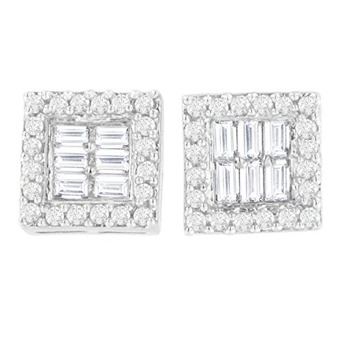 14K White Gold Round and Baguette(Diamond Stud Earrings (1 cttw, H-I Color, SI1-SI2 Clarity)