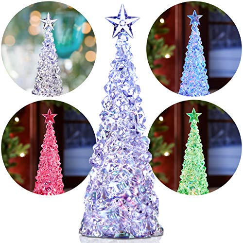 Apothecary Acrylic Color-Changing LED Christmas Tree, Crystal-Look Holiday Decoration Lights Up in Multiple Colors, Battery Operated for Cordless Décor in Any Room, Bring a Warm Glow to Your Home Christmas Tree Crystal Figurine