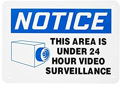"WALI Aluminum Sign Legend ""NOTICE THIS AREA IS UNDER 24 HOUR VIDEO SURVEILLANCE"", Rectangle 7"" high x 10"" wide, Black/ Blue on White WA-SIGN-A-3"