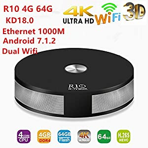 4G 64G KD 18.0 R-TV BOX R10 Android 7.1 TV BOX 4K/4GB DDR4+64GB EMMC/2.4G+5G Wifi/BT 4.1 android 7.1.2 tv box Support 4K/Full HD/H.265/USB 3.0