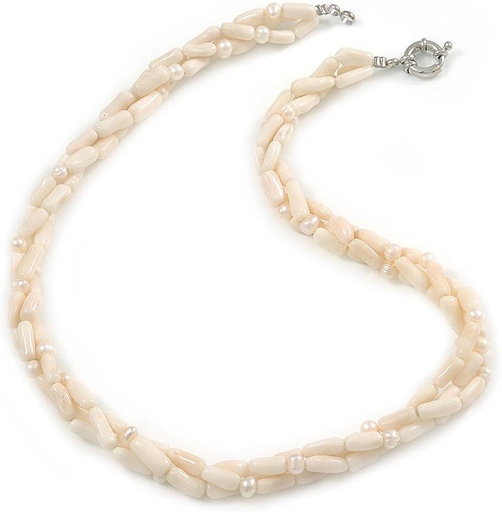 Avalaya Collar de perlas de agua dulce de 3 hebras entrelazadas de coral blanco roto con cierre de anillo de primavera de tono plateado, 47 cm de largo