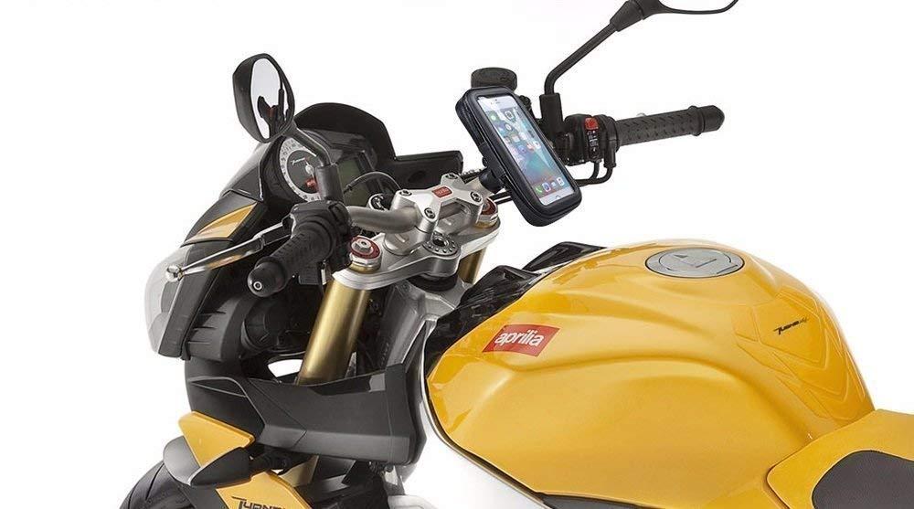 Soporte movil moto compatible con Xiaomi Pocophone F1 cargador nueva sujecion de extrema dureza sistema anticaidas soporte moto con cargador negro