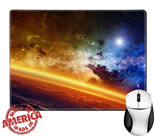 Luxlady Natural Rubber Mouse Pad Mat With Stitched Edges 9 8  X 7 9  Image Id  35596660 Abstract Scientific Background Red Glowing Planet Nebula And Stars In Space