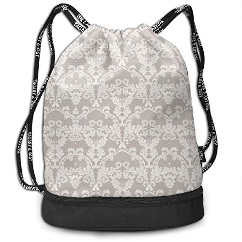 Drawstring Backpack bags, Nature Garden Themed Pattern With Damask Imperial Tile Rococo Inspired Stylized