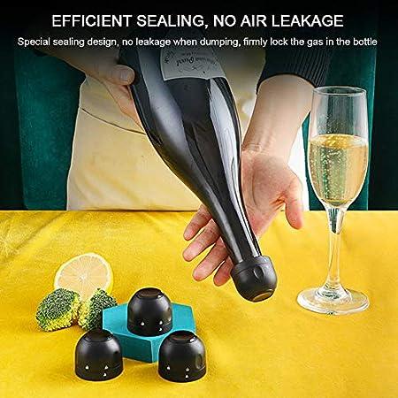 Maotrade 4 Piezas Tapon Silicona,se Puede Reutilizar Tapon Vino Bomba Vacio,Utilizado en Cerveza Champagne Vino Espumoso de Tapones Para Botellas de Vino-Negro