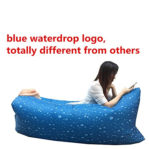 Outdoor Convenient Inflatable Lounger Air Sleeping Bag, banana Sleeping Bag Hangout Nylon Lazy Lay Laybag Air Bed Chair Couch Lounger (Blue waterdrop)