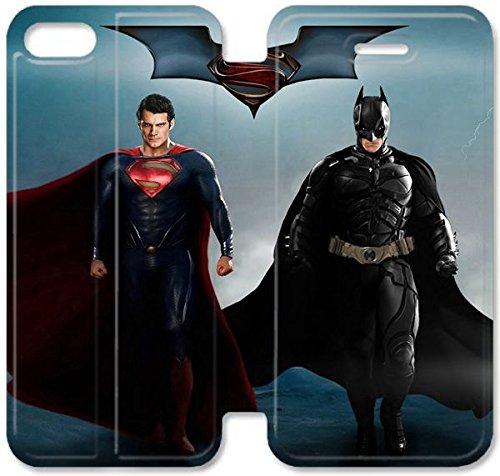 Flip étui en cuir PU Stand pour Coque iPhone 5 5S, bricolage 5 5S Cas de téléphone portable Meilleur film Batman Superman V 3 G7P8IW Coque iPhone étui en cuir design bricolage