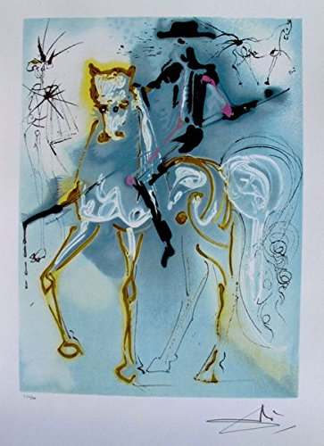 Artwork by Salvador Dali Dalinean Horse Picador Limited Edition Facsimile Signed Lithograph Print. After the Original Painting or Drawing. Measures 22 Inches X 14½""