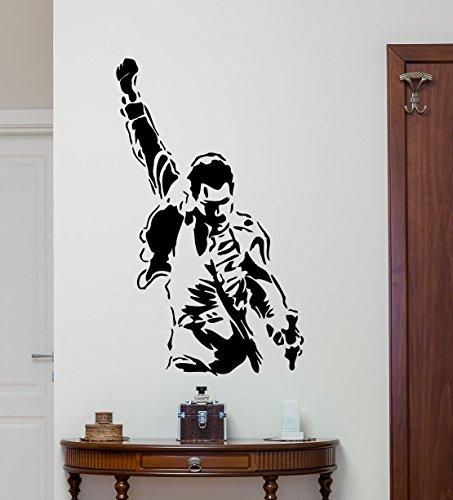 Freddie Mercury Wall Decal Queen Band Rock Music Vinyl Sticker Celebrity Music Studio Decal Musical Wall Art Design Housewares Teens Room Nursery Bedroom Decor Wall Mural 24sss