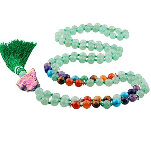 - TUMBEELLUWA Prayer Beads Stone Necklace Women Chakra Stone Meditation Reiki Balancing,Green Aventurine (Titanium Coated Crystal)