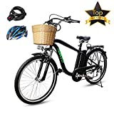 BRIGHT GG NAKTO 26'' 250W Electric City ebike Mountain Bicycle Sports Shimano 6-Speed Gear with 36V10AH Lithium Battery, Lock and Charger