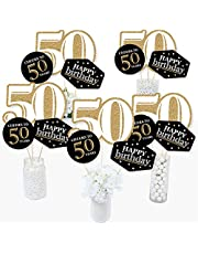 50th Adult Birthday Gold Table Toppers - Set of 15