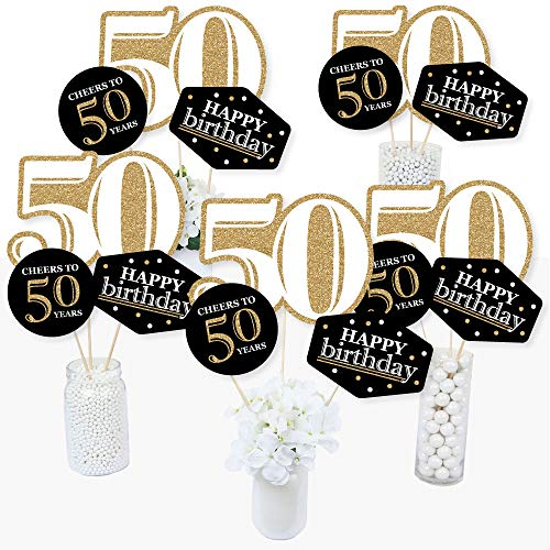 Party Birthday Centerpiece Table (Adult 50th Birthday - Gold - Birthday Party Centerpiece Sticks - Table Toppers - Set of 15)