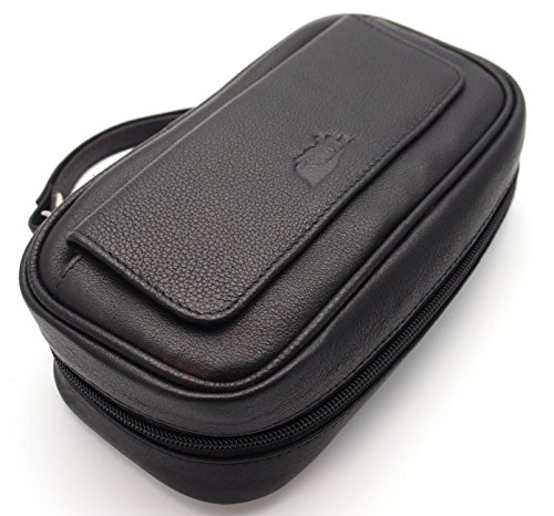 Tobacco Pipe Leather Case - 3 Pipes - Authentic Full Grade Leather - Black by Mr. Brog (Image #1)