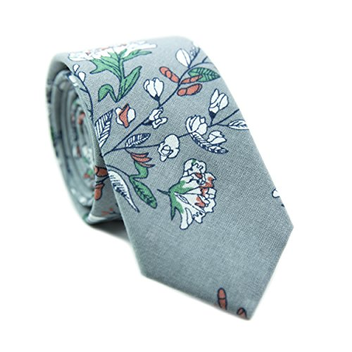 DAZI Men's Skinny Tie Floral Print Cotton Necktie, Great for Weddings, Groom, Groomsmen, Missions, Dances, Gifts. (Fall ()