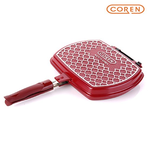"[COREN] 11"" Diamond Nonstick Double Side Fry Pan, Square, Magnetic Bakelite Handle, Dishwasher Safe, Made in (Bakelite Fry Pan)"