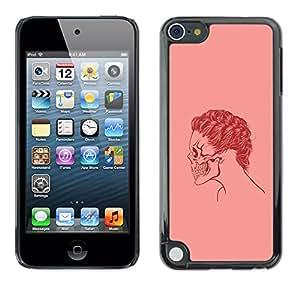 LECELL--Funda protectora / Cubierta / Piel For Apple iPod Touch 5 -- Cráneo rosado del pelo --