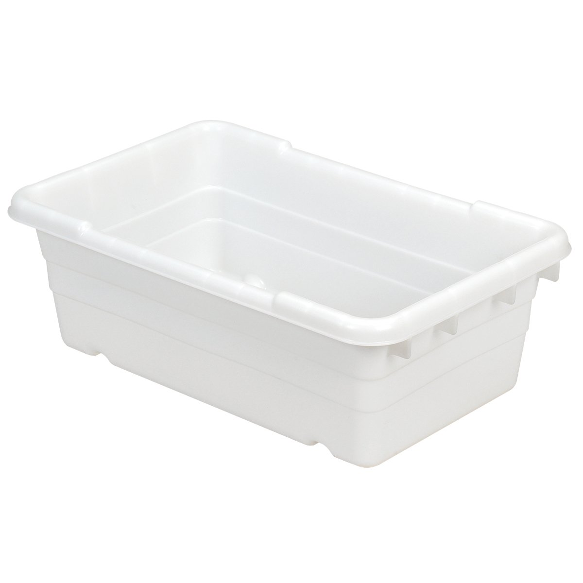 Akro-Mils 34305 Jumbo Lug Plastic Nest and Cross Stack Tub Tote - 25'' x 16'' x 9'' - Case of 6 - Natural/White