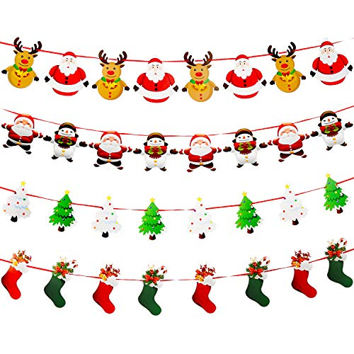 Jovitec 4 Strings Christmas Hanging Banners Paper Bunting Garlands Craft Ornaments for Offices, Malls, Houses and -