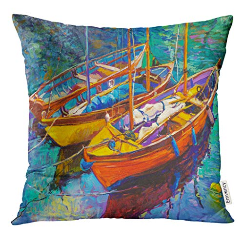 Emvency Throw Pillow Cover Watercolor Abstract Original Oil Painting on Canvas Boats and Sunset Modern Impressionism Orange Decorative Pillow Case Home Decor Square 18x18 Inches Pillowcase - Original Abstract Watercolor