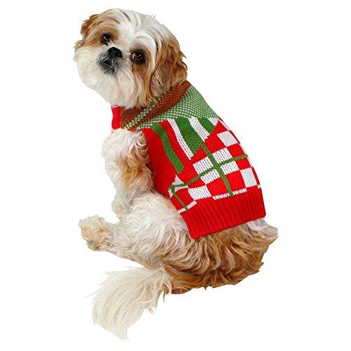 Pet Ugly Holiday Sweater Red Multi-Plaid (Medium) ()
