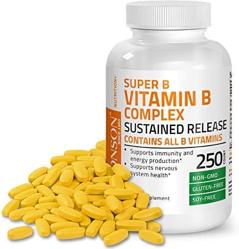 Bronson Super B Vitamin B Complex Sustained Slow Release (Vitamin B1, B2, B3, B6, B9 - Folic Acid, B12) Contains All B Vitamins 250 Tablets