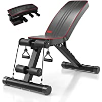 Yoleo Adjustable Weight Bench - Utility Weight Benches for Full Body Workout, Foldable Flat/Incline/Decline FID Bench…