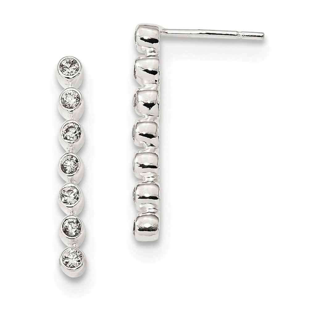 Lex /& Lu Sterling Silver Polished 7-CZ Bar Post Earrings