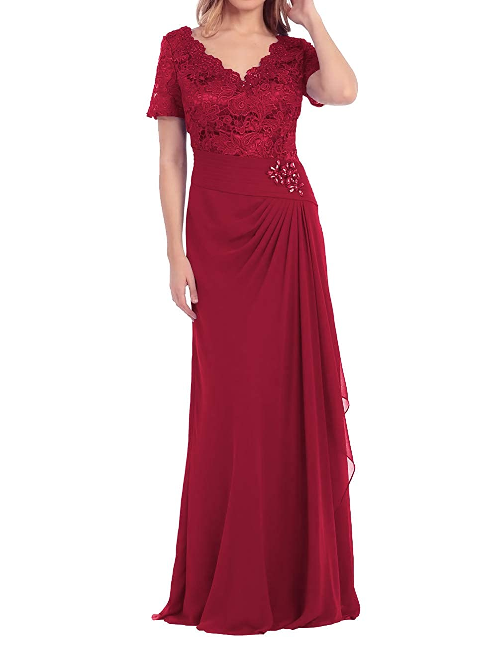 Burgundy Mother of The Bride Dress Beaded Lace Prom Evening Gowns