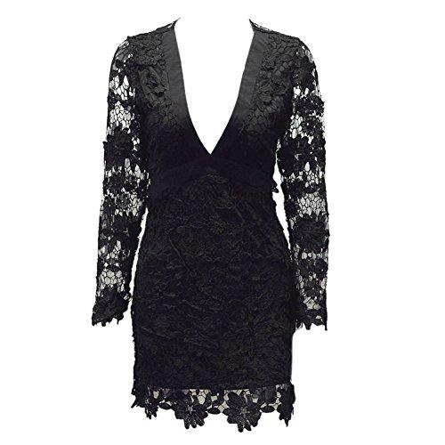 470c71d7733b ... LAEMILIA Abendkleid Damen Elegant Spitze Kleider Festlich V-Ausschnitt  Langarm Cocktailkleid Rückenfrei Mit Bowknot Etuikleider ...