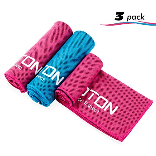 OMOTON 3 packs Cooling Towel for Instant Relief-Soft Breathable Mesh Yoga Towel-Keep Cool when Running Biking Hiking and all Other Sports (3, Blue & Rose Red & Rose Red)