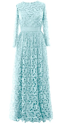 MACloth Women Long Sleeve Lace Long Mother of Bride Dress Formal Evening Gown Aqua