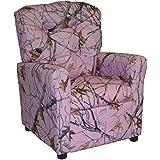 Brazil Furniture 400-pink snow camo Childrens Button Back Recliner, Pink Snow Camo