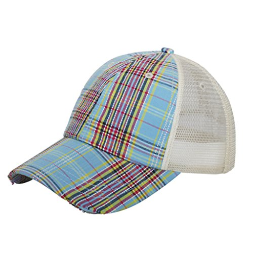 Corona Collection Women's Plaid Mesh Cap Low Profile Blue